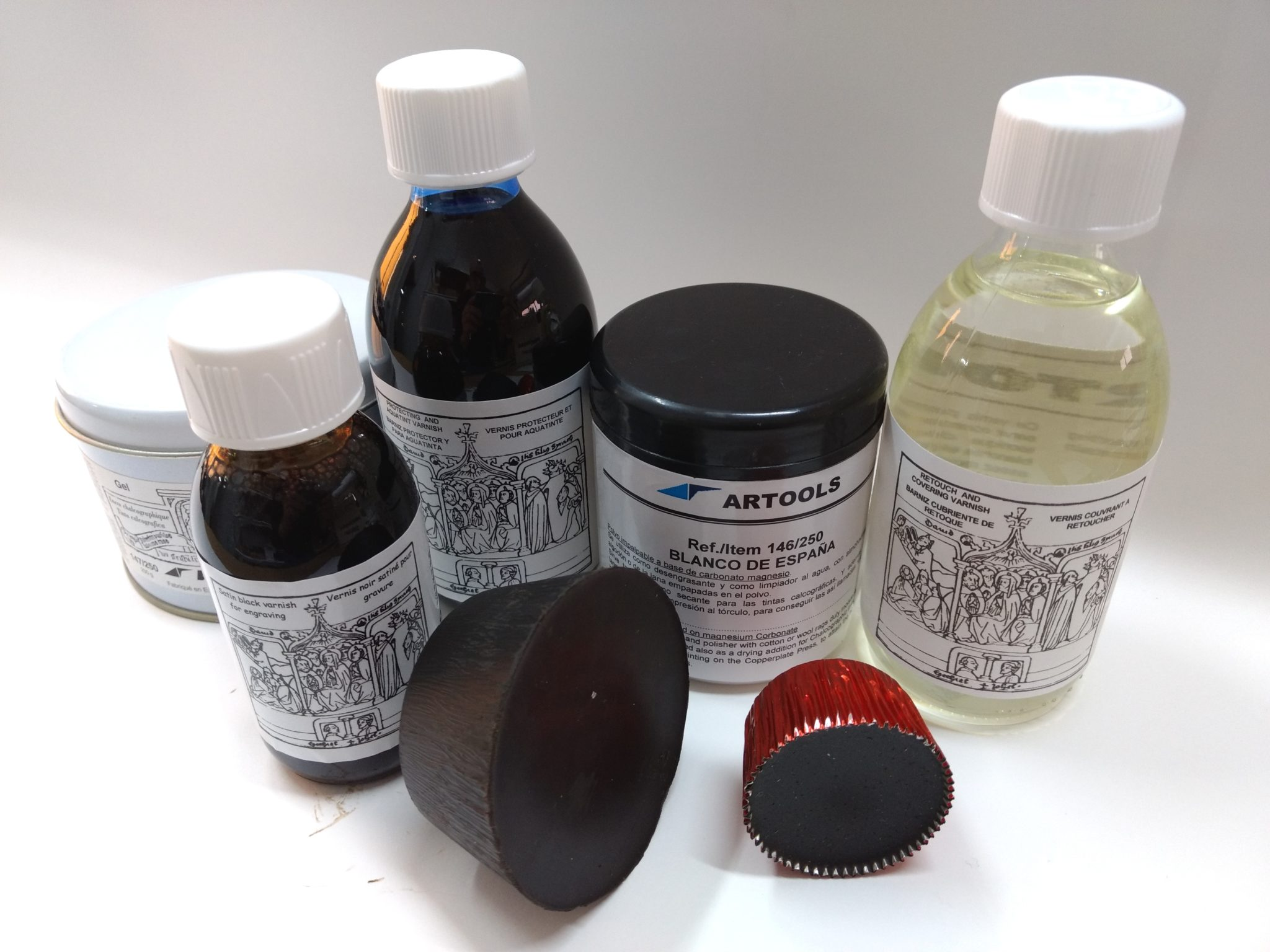 Plate oils, Grounds, Powders and Gel