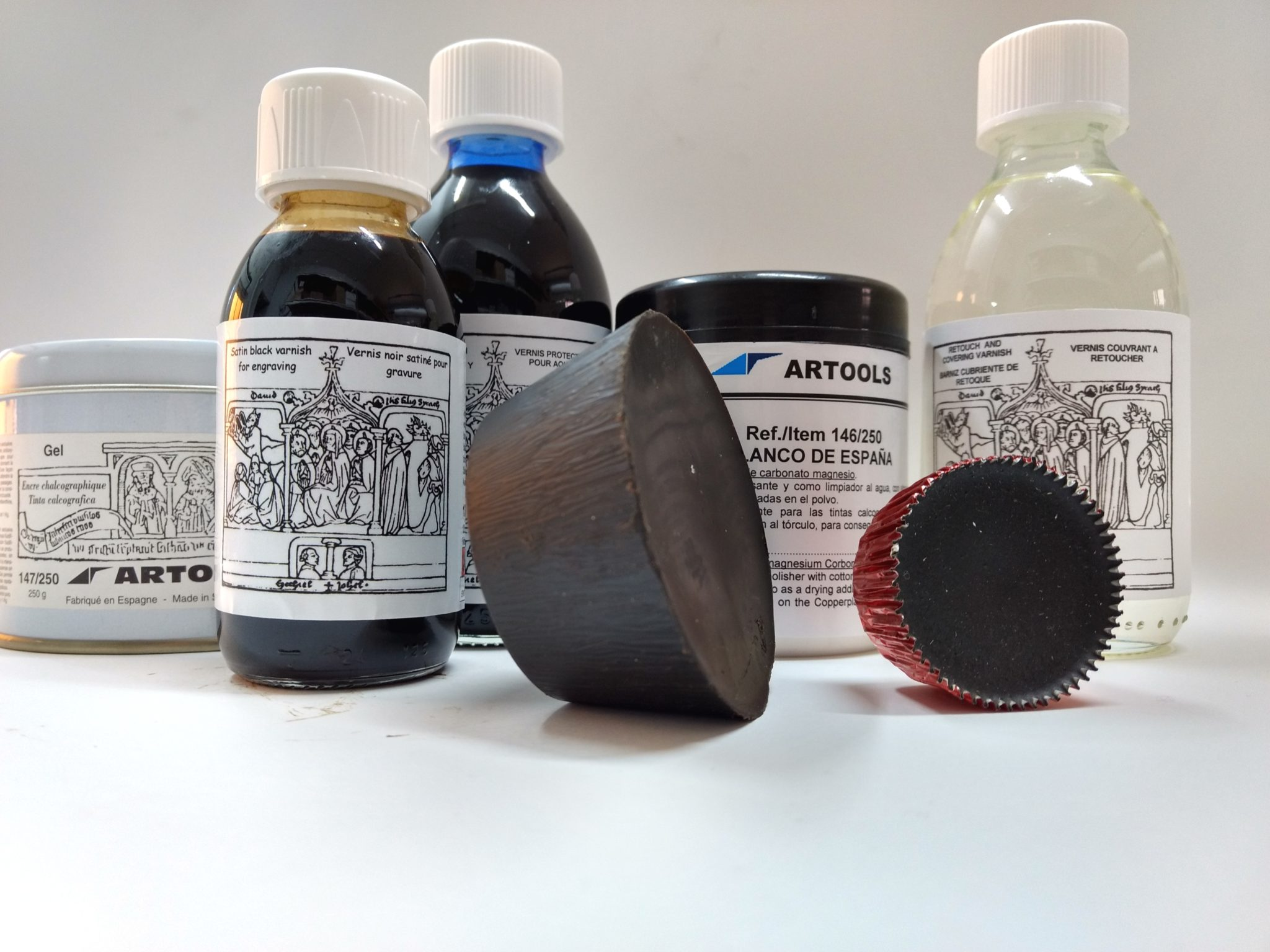 Plate oils, Grounds, Inks, Waxes, Powders and Gel